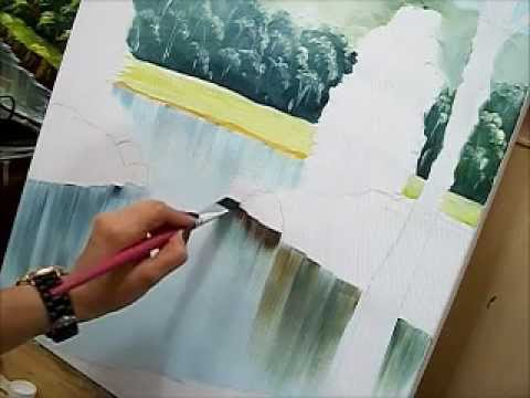 Como pintar água - How to paint water - Acrílico sobre tela