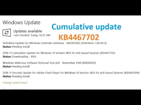 Cumulative Update for Windows 10 Version 1803 for x64 based Systems (KB4467702)