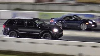 Porsche 997.2 Twin Turbo vs Jeep Cherokee SRT - 1/4 Mile Drag Race - Road Test Tv by Road Test TV