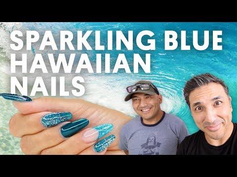 SPARKLING BLUE HAWAIIAN NAILS (GEL NAILS) - VLOG 153