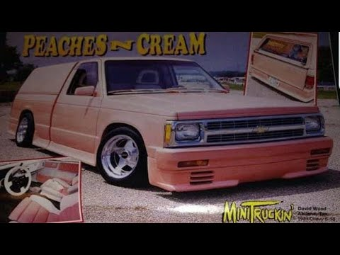 Old Minitruckin Magazine feature truck found in trailer. Peaches and Cream. Barn find Chevy S10