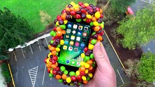 Can 500 Skittles Protect an iPhone 7 from Extreme 100 FT Drop Test? - GizmoSlip