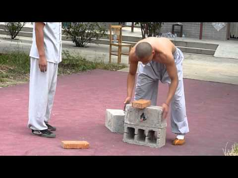 Shaolin Kungfu Demonstration Breaking Iron and Bricks