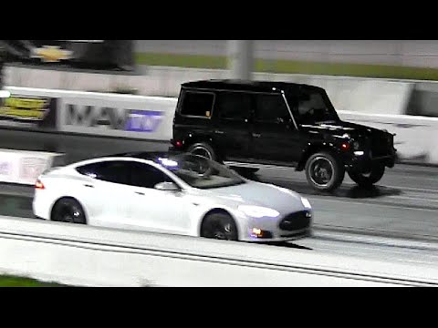 Mercedes - http://www.RoadTestTV.com A 2014 470 Horsepower Tesla Model S P85 takes on a 2014 Mercedes G63 AMG in a 1/4 mile drag race. The Tesla 85 kWh electric engine makes 470 Horsepower and ...