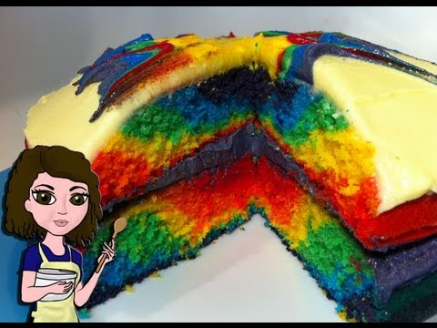 HOW TO MAKE A RAINBOW TIE DYE CAKE