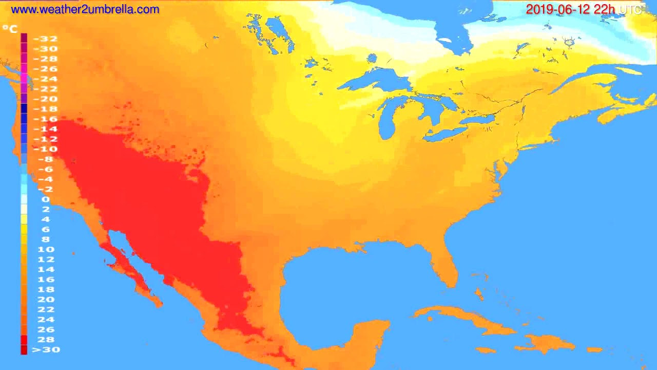 Temperature forecast USA & Canada // modelrun: 00h UTC 2019-06-10