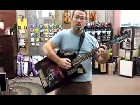 Nick Pelkey at Knapp's Music Dan Meek Zither Guitar Initial Test Still Wet