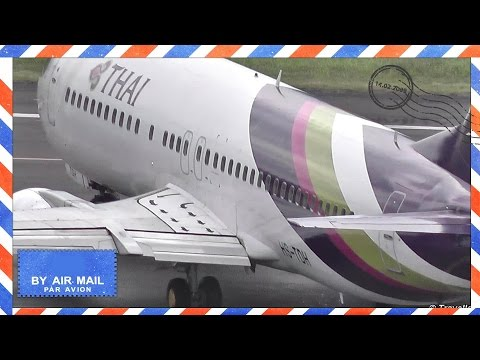 TROPICAL TakeOff Thai Airways Boeing 737-400 at Koh Samui to Bangkok – HS-TDH – Pagoda Khao Hua Jook