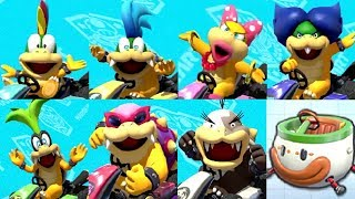 Gameplay with all 7 Koopaling characters in Mario Kart 8 Deluxe while playing online races.  Below are the time stamps for each character.00:02 - Lemmy Koopa02:15 - Larry Koopa05:30 - Wendy Koopa08:22 - Luwdig von Koopa10:22 - Iggy Koopa13:03 - Roy Koopa16:01 - Morton Koopa