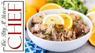 """Slow Cooker Cuban Mojo Pork is tender shredded pork, slow cooked in a garlic citrus sauce. Serve it up on some toasted bread for a delicious Cuban sandwich or plain with rice and beans. ________________________________________↓↓↓↓↓↓ CLICK FOR RECIPE ↓↓↓↓↓↓↓↓ _______________________________________How to make Slow Cooker Cuban Mojo PorkINGREDIENTS1 head garlic, peeled and crushed1 tsp. salt1/2 tsp. black pepper2/3 cup orange juice1/3 cup lemon juice1 pork butt roast (3 to 5 lbs)1 onion, halved and sicedINSTRUCTIONS1. In a small mixing bowl, create your mojo by stirring together crushed garlic, salt, pepper, orange juice, and lemon juice.2. Place the pork roast into a 5 to 8 quart slow cooker3. Pour the mojo mixture over the roast. Scatter the onions on top of the roast.4. Cook on low for 8 hours until meat is easily shredded with a fork.5. Shred the meat before serving. Serve hot on toasted Cuban breadThanks for watching! Don't forget to push """"LIKE,"""" leave a COMMENT below, and SUBSCRIBE! Feel free to SHARE this video too.PRINTABLE RECIPE:  http://thestayathomechef.com/slow-cooker-cuban-mojo-pork/SUBSCRIBE to my channel: http://youtube.com/thestayhomechefFACEBOOK: https://www.facebook.com/TheStayAtHomeChef/INSTAGRAM: https://instagram.com/thestayathomechef/PINTEREST: https://www.pinterest.com/stayathomechef/TWITTER: https://twitter.com/thestayhomechefCONTACT ME: stayathomechefblog@gmail.comCarefree by Kevin MacLeod is licensed under a Creative Commons Attribution license (https://creativecommons.org/licenses/...)Source: http://incompetech.com/music/royalty-...Artist: http://incompetech.com/"""