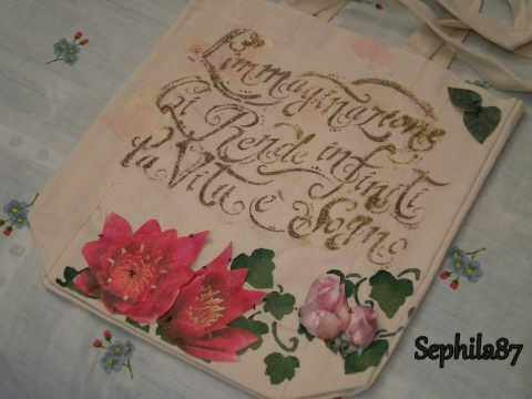 decoupage su borsa in cotone con stencil sfumato