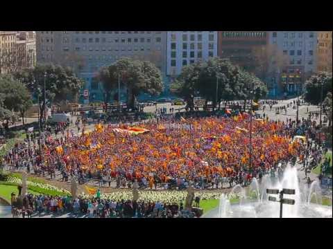 independència - Flashmob for the independence of Catalonia was recorded on the 18th of March 2012 at 12pm at the Plaça Catalunya, in Barcelona. 8.500 people filled the centr...