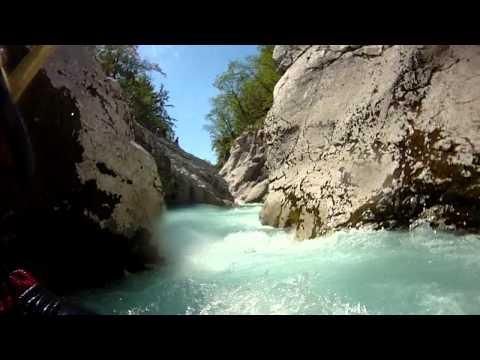 Soca river white water kayaking, Bunker section. Slovenia 14-08-2011