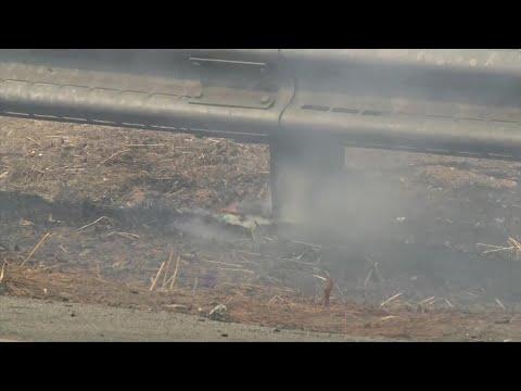 Raw Video: San Jose Grass Fire At I-280