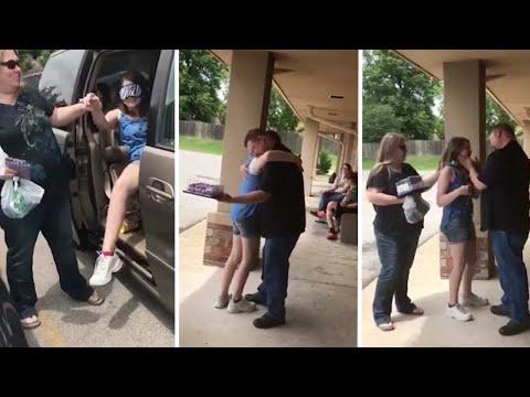 بالفيديو .. فتاة تقابل والدها لأول مرة منذ 13 عاما