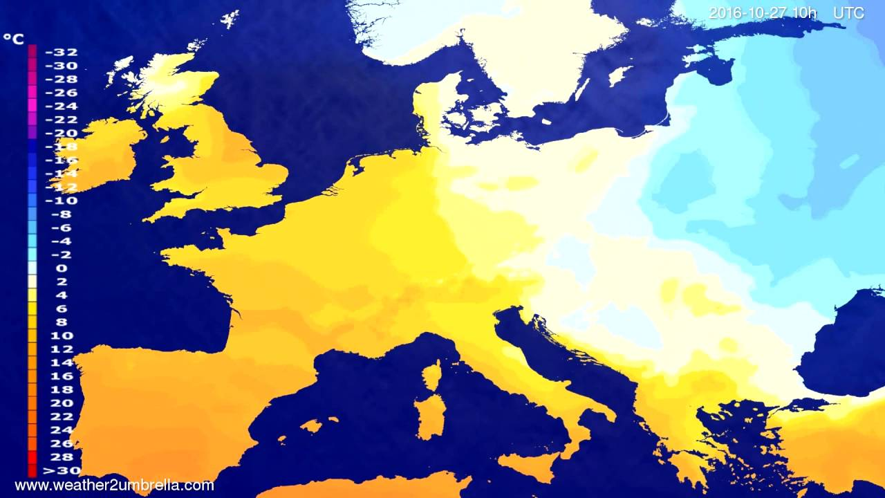 Temperature forecast Europe 2016-10-24