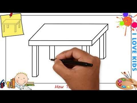 How to draw a table EASY step by step for kids, beginners, children 2