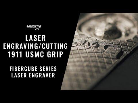 <h3>Laser Engraving/Cutting on a FiberCube Series Engraving System - 1911 USMC Grip</h3>