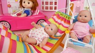 Video Picnic Baby doli and pink car toys baby doll hammock chair play MP3, 3GP, MP4, WEBM, AVI, FLV Agustus 2017