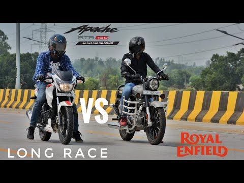 Tvs Apache RTR 160 2v Vs Royal Enfield Classic 350 | Long Race | Highway Top End