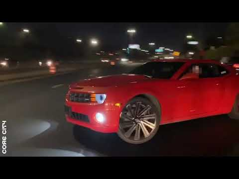 Dodge Challenger doing donuts in Detroit off of Hwy 94