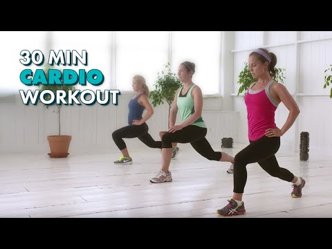 cardio workout - Work up a sweat and burn fat and calories with this 30-minute workout. This workout uses high intensity exercises to get your heart going, followed by lower ...