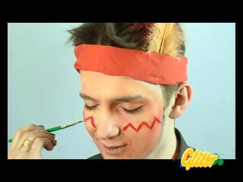 Indianer schminken - zB als Kinderschminken Vorlage