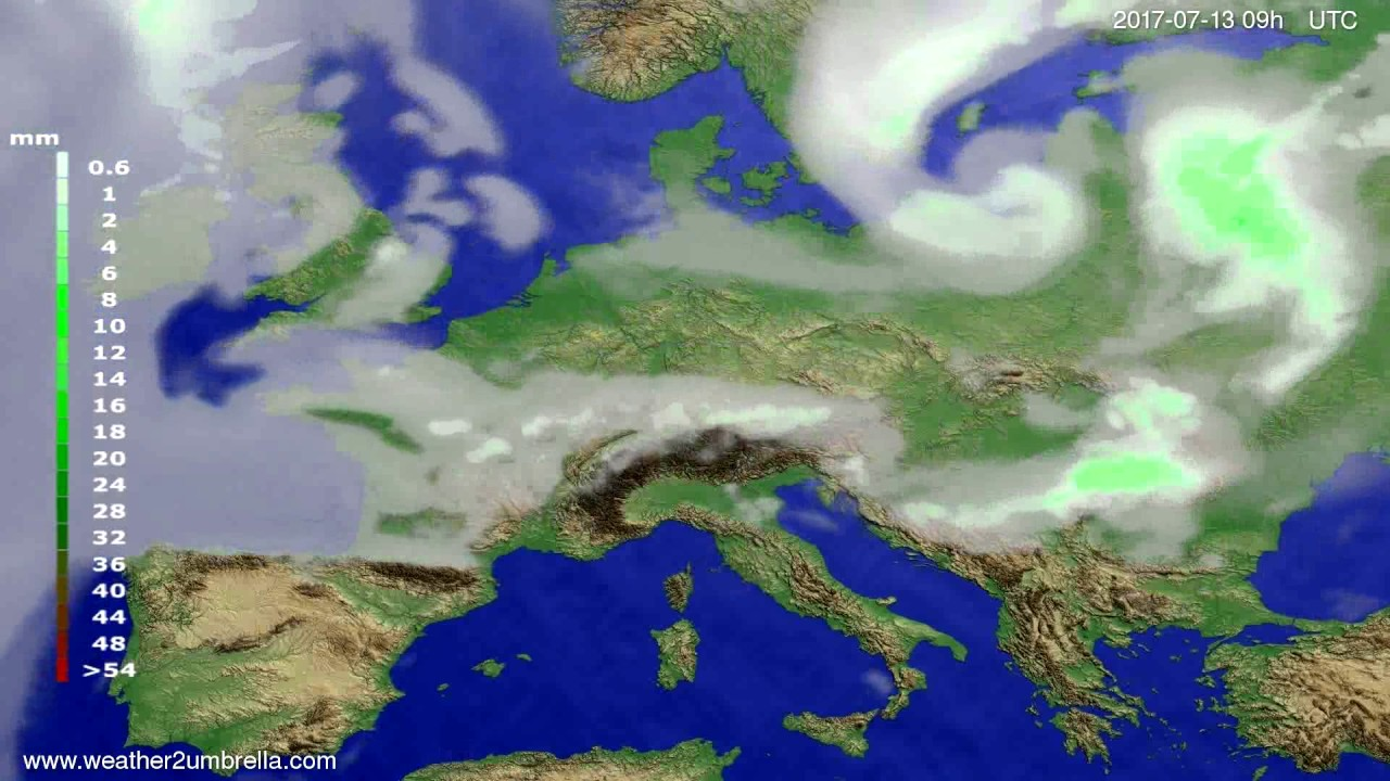 Precipitation forecast Europe 2017-07-09