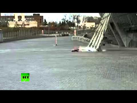 link - A Ukrainian girl narrowly escaped death as a huge piece of glass façade broke off Shakhtar Donetsk's Donbass Arena and crashed right in front of her. The incredible moment was caught on CCTV....