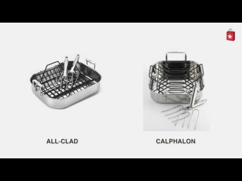 Calphalon Tri-Ply Stainless Steel 14 In. Roaster with Roasting Rack and Lifters Comparison Video