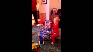 My friend Jason bought his nephew a junior drum set for Christmas.