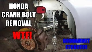 OMG! This is the worst crank bolt to remove by without an air gun. Hope this was plenty helpful! Thanks for watching!!!!!!!!!Tool can be bought anywhere online, just google search.Tools used:Honda Crankshaft Bolt Removal Tool19mm socekt 1/21/2 Long ass pry bar1/2 Long ass ratchetLong ass extension (make sure its strong)JackstandFlashlightCheater BarSUBSCRIBE HERE https://www.youtube.com/my_videos?o=U*Please be aware that I am not responsible for you actions in any type of way. If you get injured during the job or damage other parts including the engine I'M NOT RESPONSIBLE! Always work with safety and please do your research