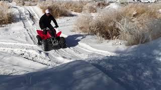 4. Honda TRX90X vs SNOW! (adult rider)