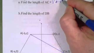 Coordinate Proof Diagonals of Iso Trapezoid