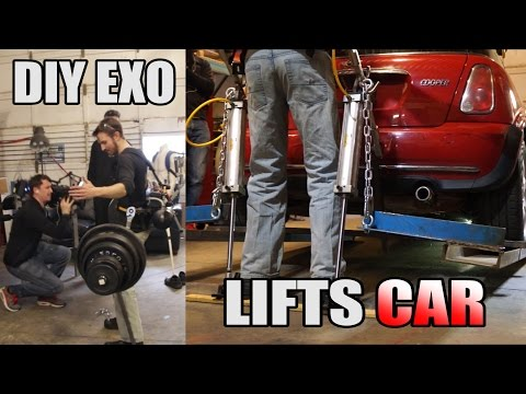 Homemade Exoskeleton Lifts Mini Cooper