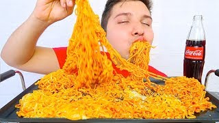 EXTREMELY CHEESY SUPER SPICY FIRE RAMEN NOODLES • Mukbang & Recipe