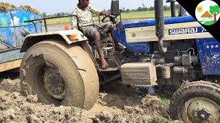 swaraj 744 tractor stuck in mud with Heavy Load/ John Deere Pulling Swaraj Tractor/come to village