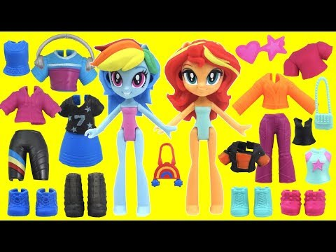 My Little Pony MLP Fashion Squad Mix and Match Rainbow Dash and Sunset Shimmer Cutie Mark Cuties