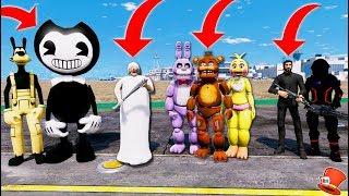 ANIMATRONICS vs GRANNY vs FORTNITE vs BENDY! (GTA 5 Mods For Kids FNAF RedHatter)