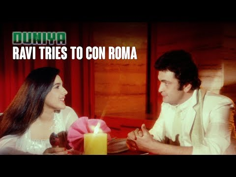 Ravi tries to con Roma   Duniya (1984)   Ashok Kumar, Dilip Kumar, Rishi Kapoor & Amrita Singh
