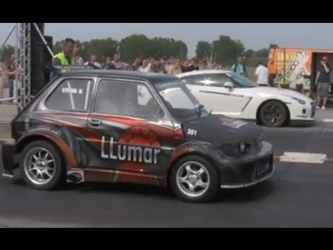 █▬█ █ ▀█▀ Nissan GT-R P800 Vs. Fiat 126 P Turbo Drag Race