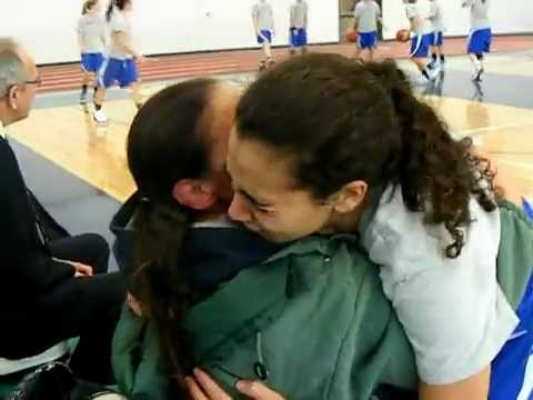UMPI Women's Basketball player gets a surprise from home