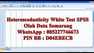 Test Heteroskedasticity White Test Using SPSS.This video shows how to detect and test for Homoscedasticity and Heteroskedasticity White Test SPSS.Can SPSS perform White's test for heteroscedasticity.Olah Data SemarangWhatsApp : 085227746673PIN BB : D04EBECB