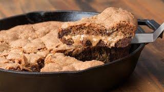 Peanut Butter-Stuffed Skillet Cookie