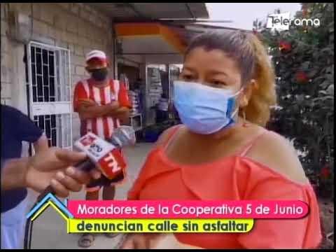 Moradores de la Cooperativa 5 de Junio denuncian calle sin asfaltar