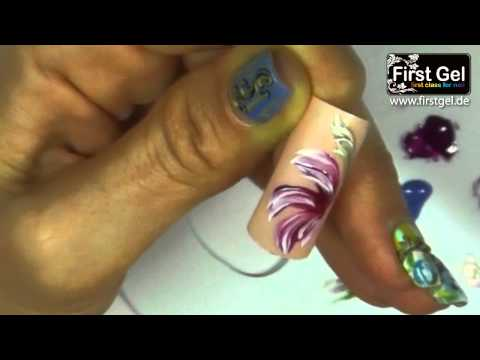First Gel Tutorial: Brush Nail Art 2-V