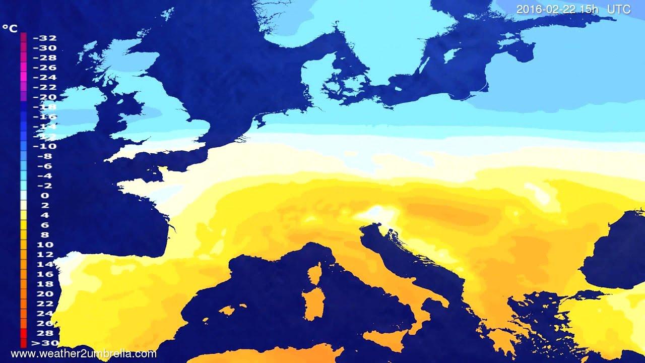 Temperature forecast Europe 2016-02-20