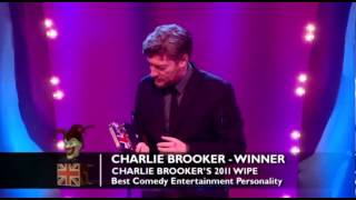 The winner of this year's Best Comedy Entertainment Personality category is Charlie Brooker!The concept for the Awards was originally devised and produced by British TV legend, Michael Hurll to promote homegrown comedy talent. The original show was presented by Michael Parkinson and winners included VICTORIA WOOD as Best Live Stand-up, PAULINE QUIRKE as Best TV Comedy Newcomer, and DROP THE DEAD DONKEY as the Best New TV Comedy. Other winners included RUSS ABBOTT, CLIVE JAMES & ROWAN ATKINSON.http://www.britishcomedyawards.com/https://twitter.com/comedyawardshttp://www.facebook.com/pages/British-Comedy-Awards/160295097348405