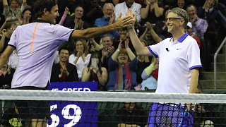 Highlights of the highly entertaining doubles match between Roger Federer / Bill Gates and John Isner / Mike McCready. Team Federer / Gates won 6-4!