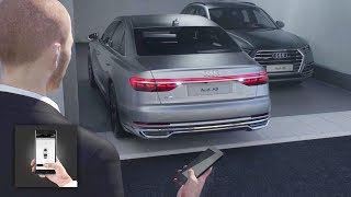 Fingertip response: the controlsThe luxury sedan's interior deliberately adopts a reductive design; the interior architecture is clear and with a strictly horizontal orientation. Audi carries its high quality standards into the digital age with a radically new operating concept. It does away with the familiar rotary pushbutton and touchpad of the predecessor model. The instrument panel is kept largely clear of buttons and switches. At its center is a 10.1-inch touchscreen display which, when off, blends almost invisibly into the high-gloss black surround thanks to its black-panel look.The user interface appears as soon as the car is opened. The driver controls the Infotainment system with fingertip control on the large display. They can use a second touchscreen display on the center tunnel console to access the air conditioning and comfort functions as well as make text inputs. When the driver activates a function in the upper or lower display, they hear and feel a click by way of confirmation. The glass-look operating buttons respond in the same way. The combination of acoustic and tactile feedback along with the use of common touch gestures such as swiping make the new MMI touch response especially safe, intuitive and quick to use.The A8 can also engage in intelligent conversation. The driver can activate an array of functions in the automobile using a new, natural form of voice control. Information on destinations and media is either available on board or is delivered from the cloud at LTE speed. The extensive Audi connect range also includes traffic sign recognition and hazard information – innovative car-to-X services that draw on the swarm intelligence of the Audi fleet.The extensively optimized navigation is another new feature: It is self-learning, based on the route just driven. This provides the driver with intelligent search suggestions. The map also incorporates highly detailed 3D models of major European cities.World premiere: the pilot-driving Audi A8T